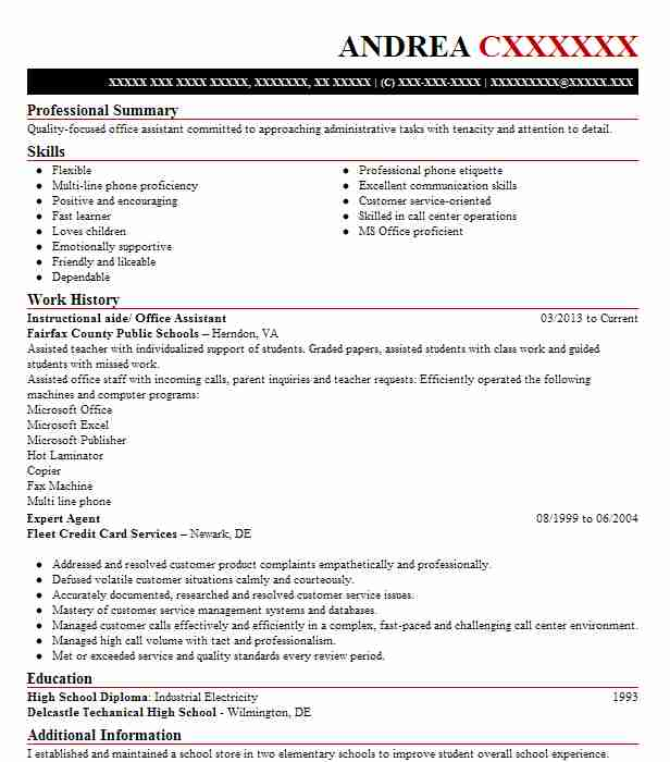 instructional aide office assistant - High Proficiency In Microsoft Office