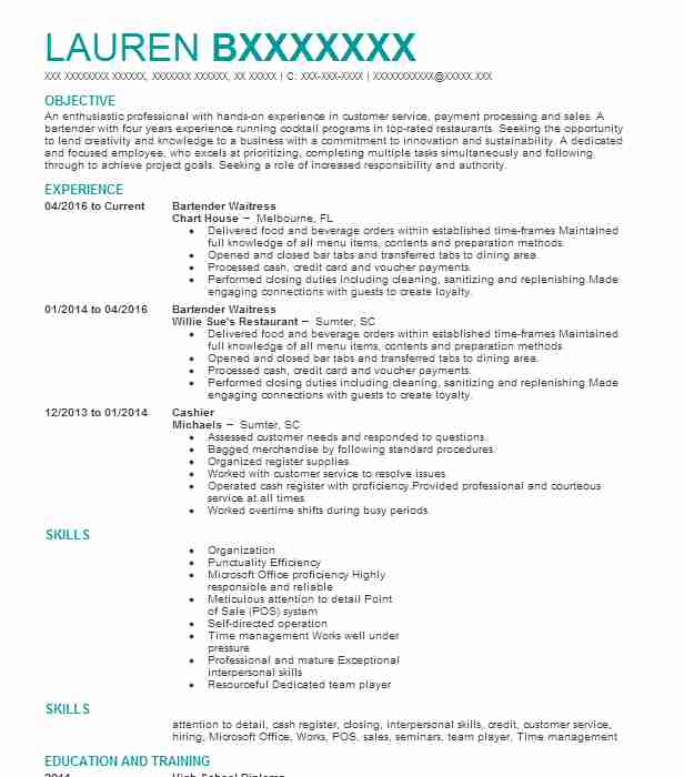 Bartender Resume Objectives Resume Sample | LiveCareer
