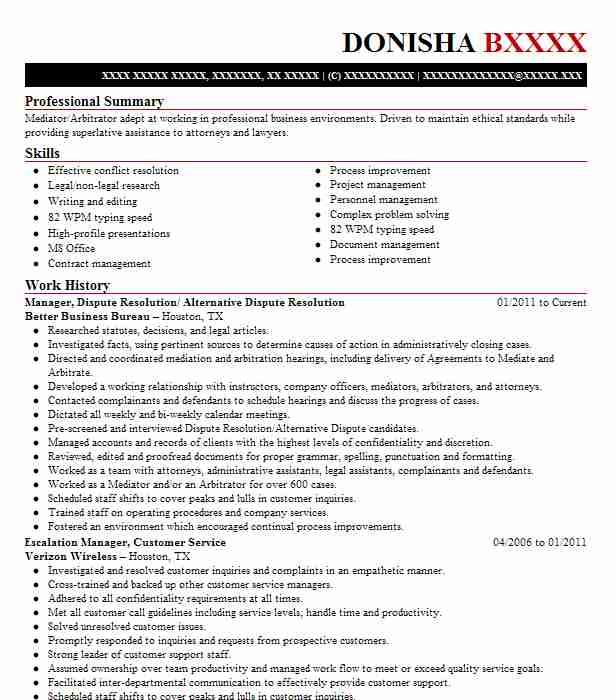dispute resolution specialist resume example jp chase