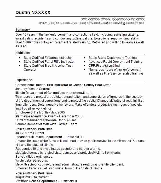 4 police officers resume examples in pittsfield il livecareer - Lateral Police Officer Sample Resume