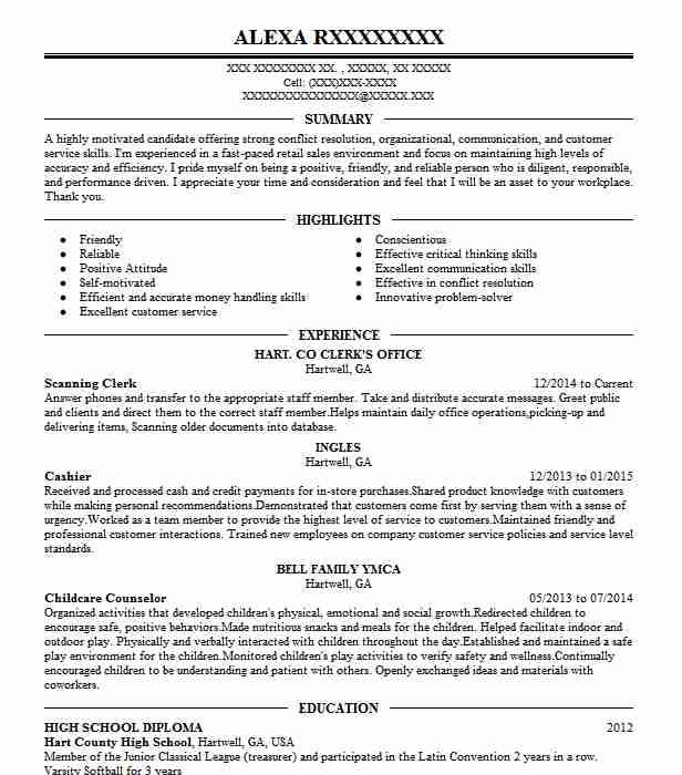 Scanning Clerk Resume Sample Clerk Resumes Livecareer