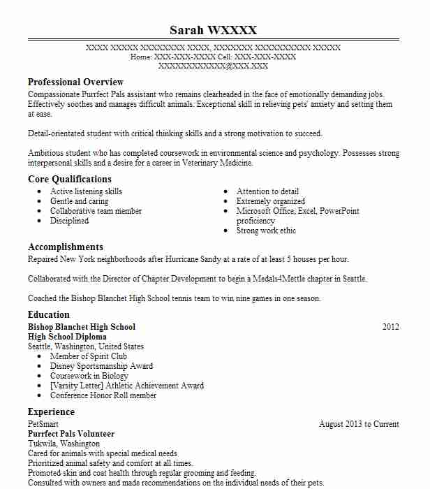 purrfect pals volunteer - Animal Science Student Resume