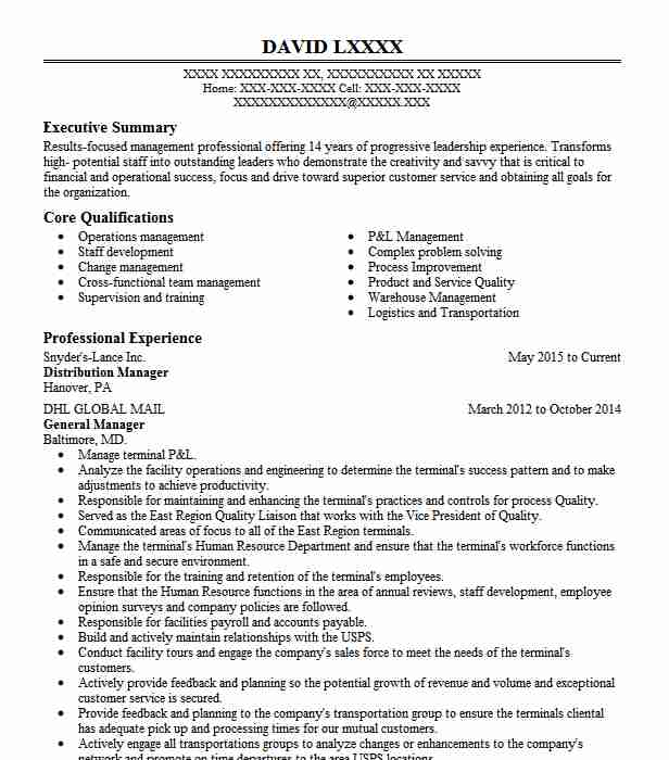 Distribution resume