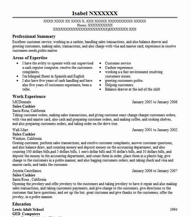 best sales cashier resume example