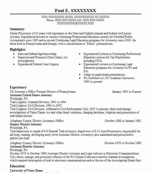 District attorney office emplyment resume