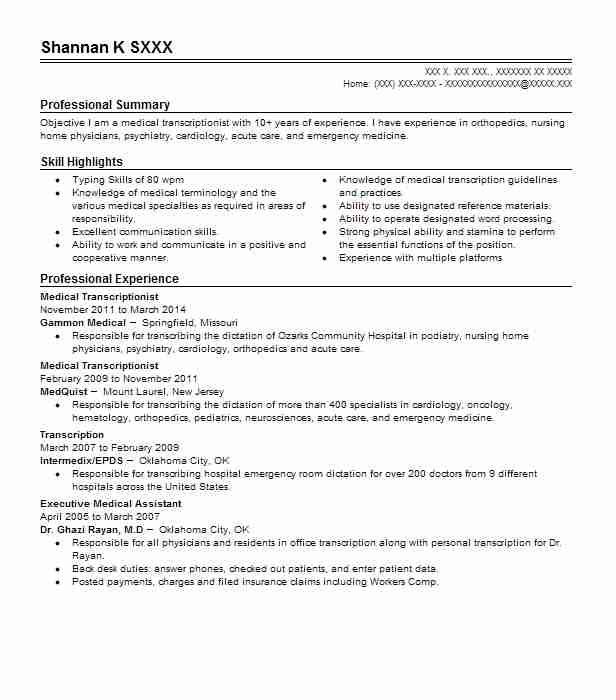 4 resumes matching medical records billing and transcription resume samples in purcell oklahoma - Medical Transcription Resume Samples