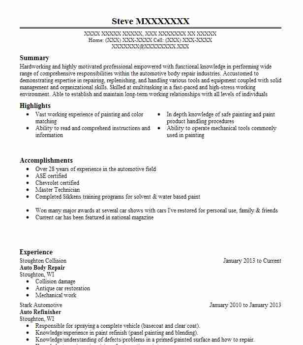 Auto Body Repair Resume Sample