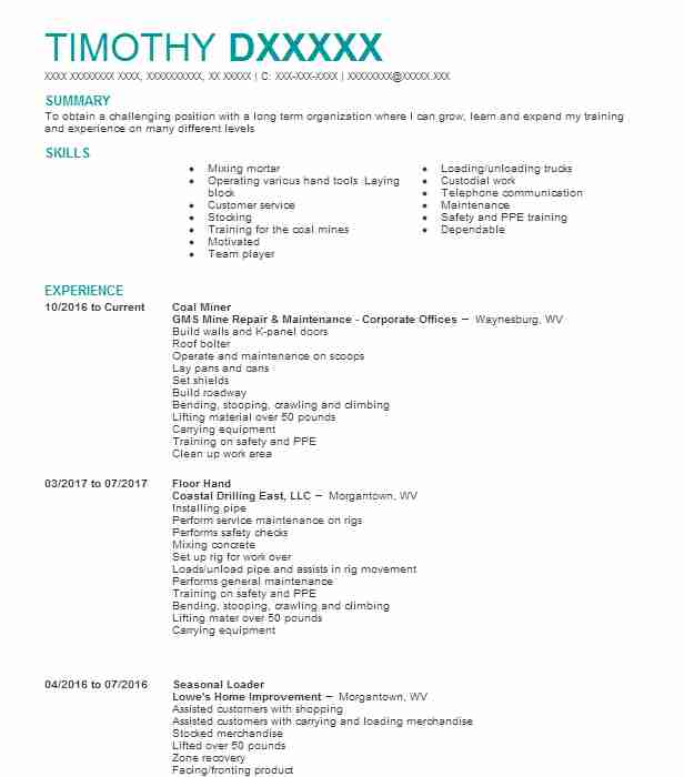 192 Extraction And Mining Resume Examples In West Virginia Livecareer