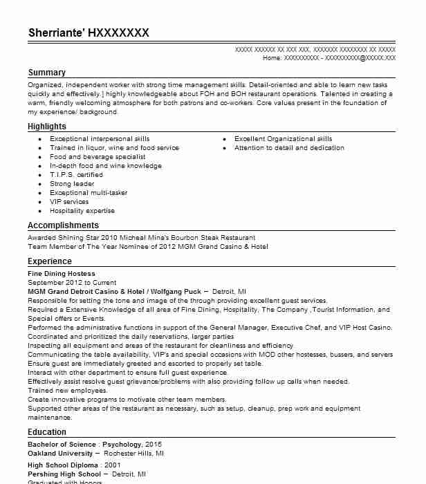 Fine Dining Hostess Resume Sample Resumes Livecareer Duties