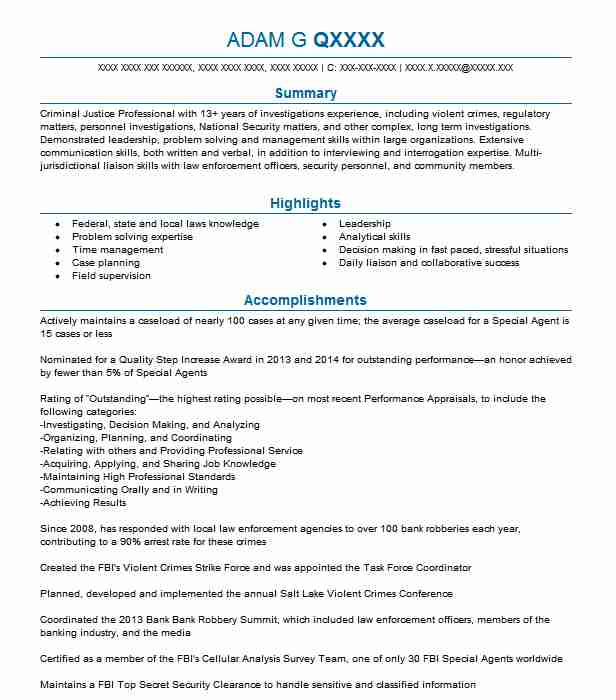 Special Agent Resume Example Federal Bureau Of