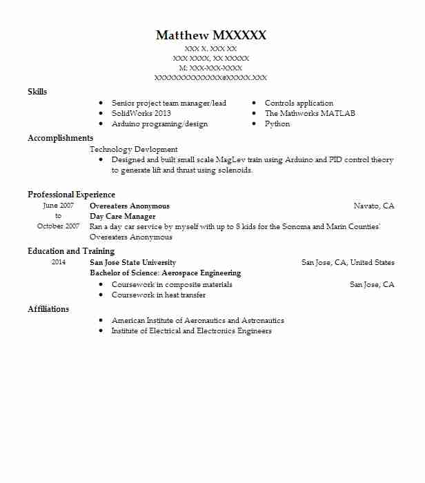 day care manager resume sample