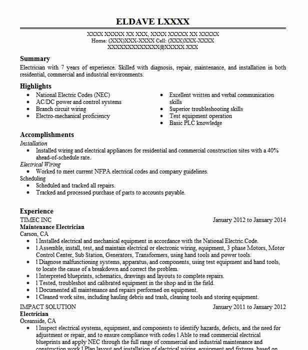 Free Sample Resume For Electronics Technician: Maintenance Electrician Resume Sample