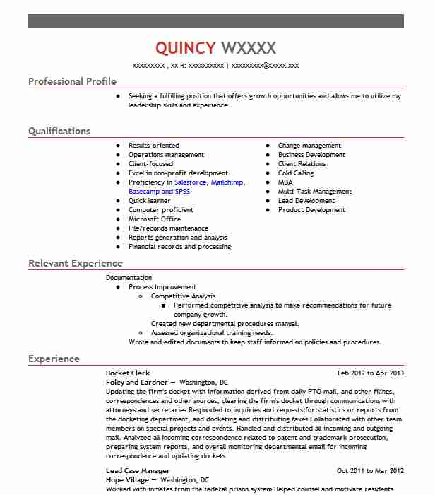 Docket Clerk Resume Example – Best Format