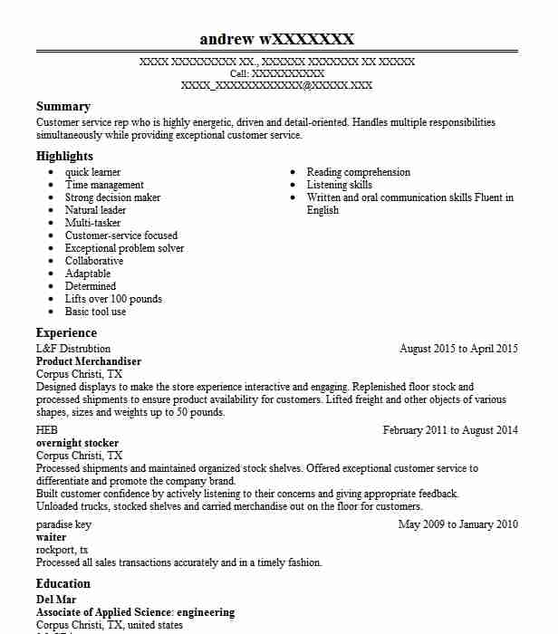 Product Merchandiser Resume Sample Merchandiser Resumes Livecareer