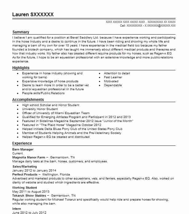 Barn Manager Resume Sample | Manager Resumes | LiveCareer