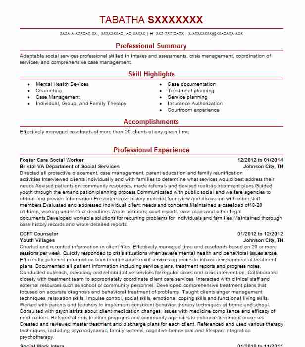 foster care social worker resume sample