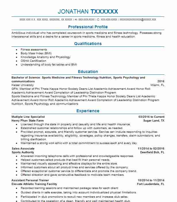 19130 Fitness Instructors And Coaches Resume Examples Fitness And .