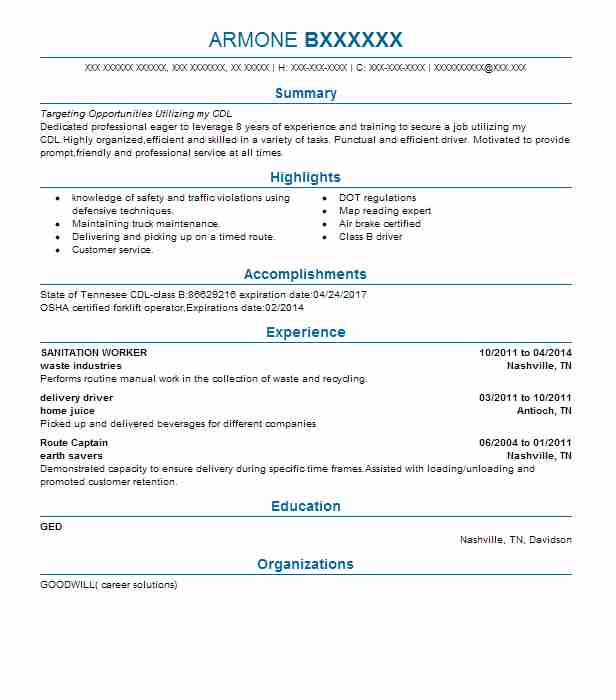 sanitation worker resume sample
