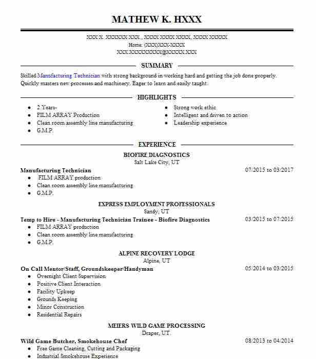 resume for manufacturing jobs