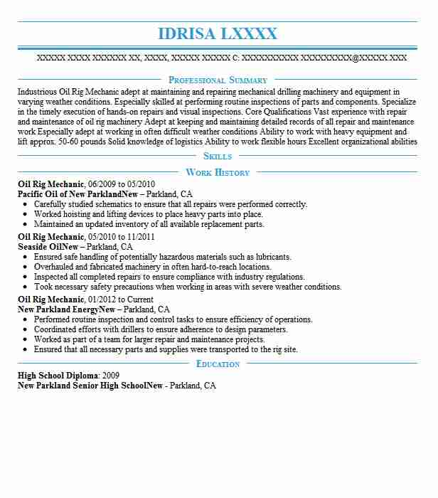 oil rig mechanic resume sample mechanic resumes livecareer. Black Bedroom Furniture Sets. Home Design Ideas