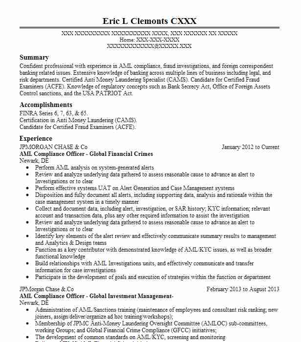 aml compliance officer resume example hsbc