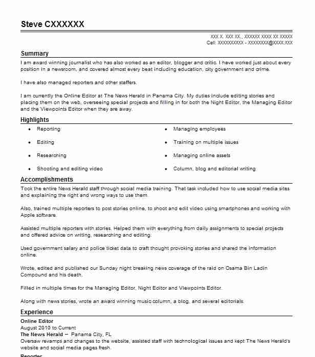 online editor resume sample