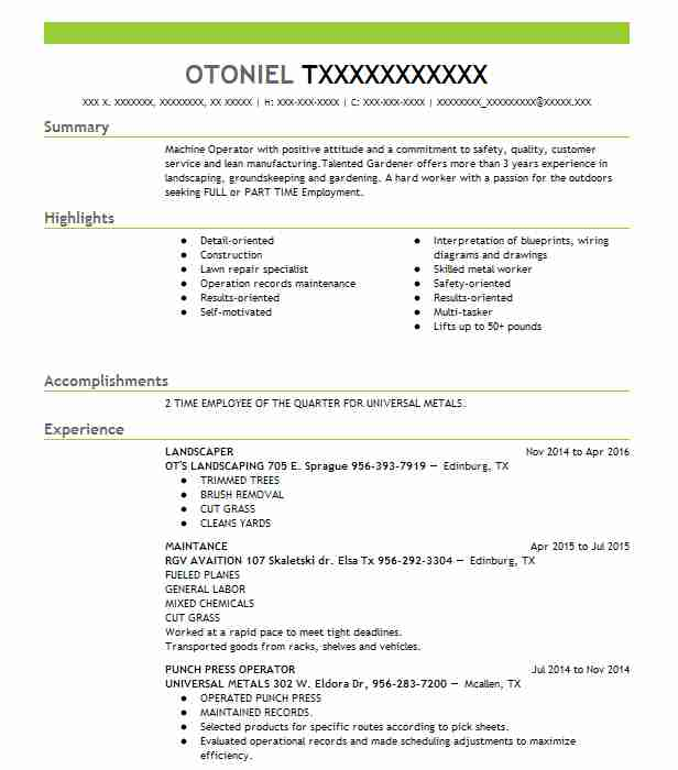 Tool and die maker resume examples
