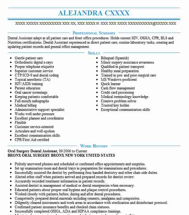 Oral Surgery Assistant Resume Example Oral Surgery And