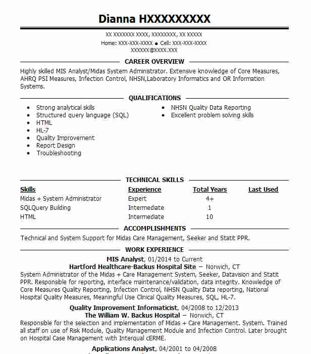 mis analyst resume sample