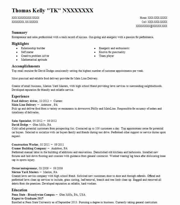 food delivery driver resume sample