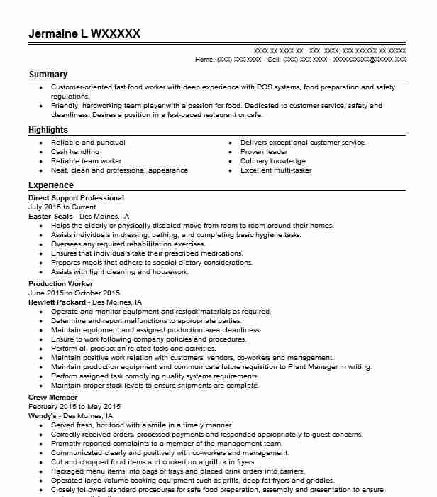 Direct Support Professional  Stocker Resume