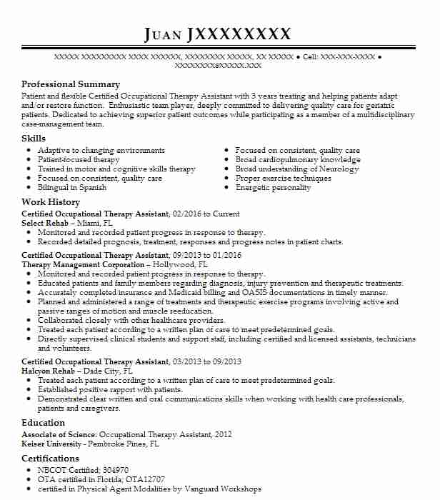 certified occupational therapy assistant resume sample