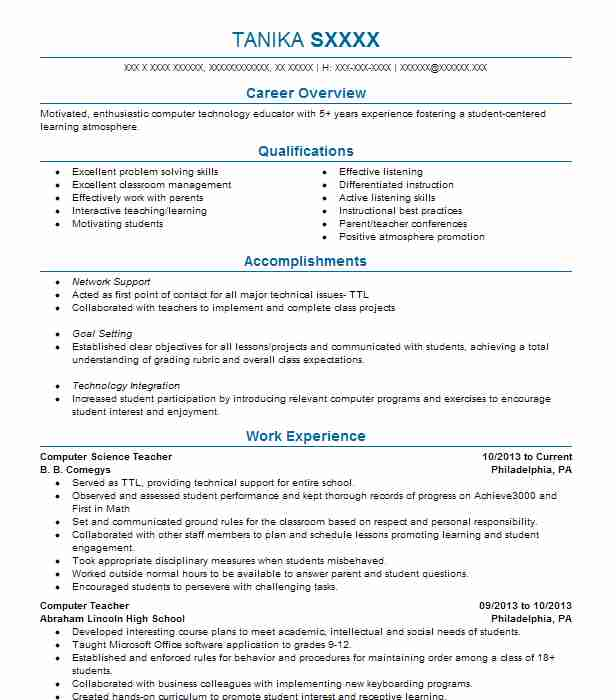 Computer Science Resume Projects.Computer Science Teacher Resume Sample Teacher Resumes