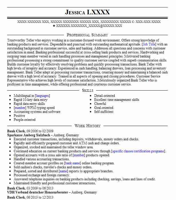 Bank Clerk Resume Sample Banking Resumes Livecareer