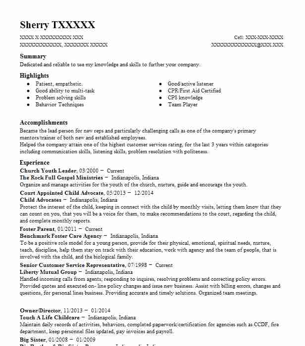 church youth leader resume sample