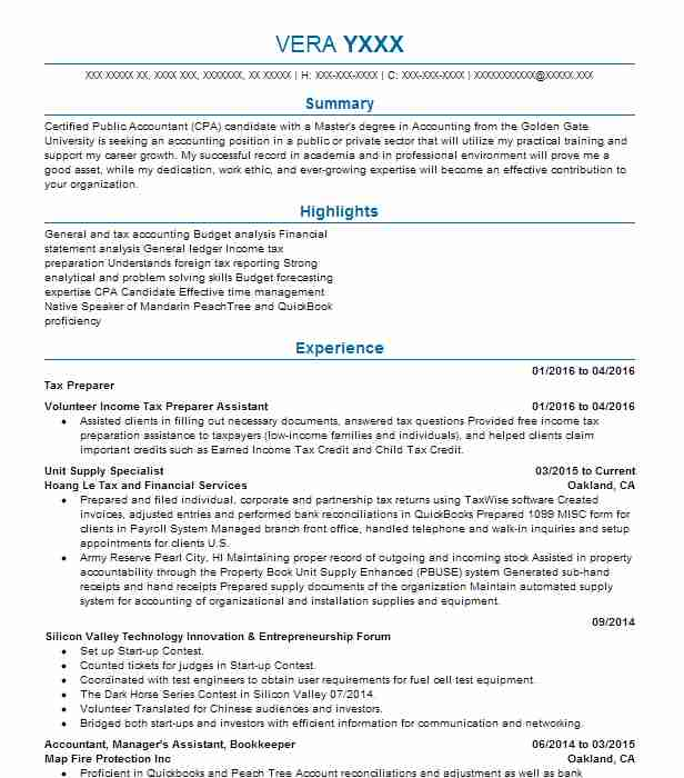 tax preparer experience resume cover letter best accountant example ...