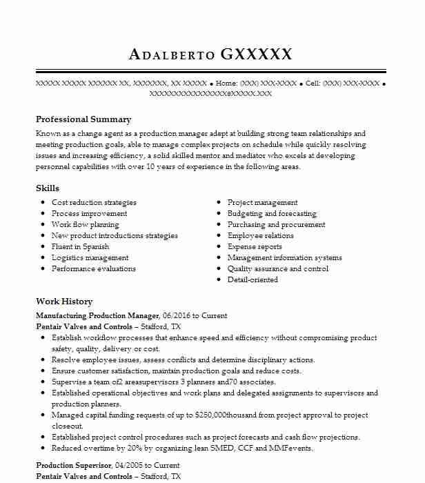 MANUFACTURING PRODUCTION SUPERVISOR Resume Example CAMERON