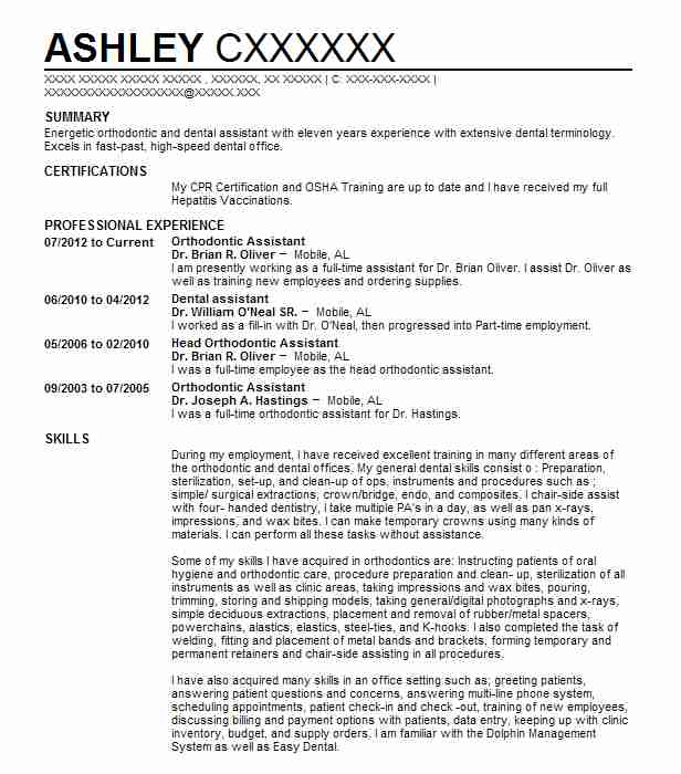 Resume Example For Dental Assistant Position: Orthodontic Assistant Resume Sample