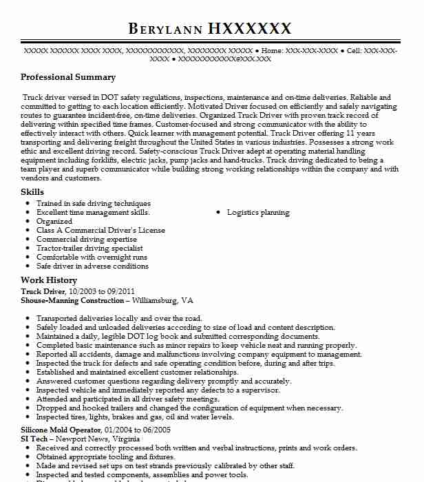 Truck Driver Resume Example Allphase Steelworks