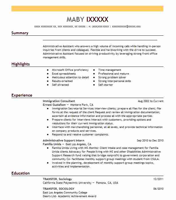 immigration consultant resume sample