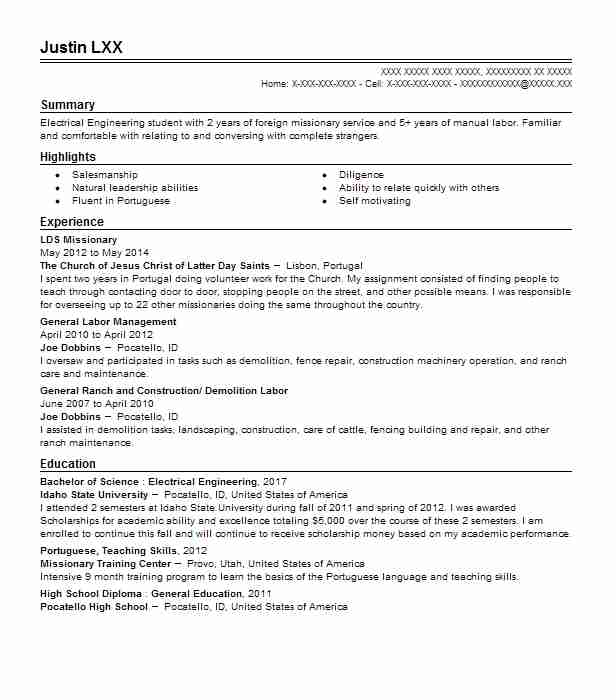 Lds Mission Resume Example The Church Of Jesus Christ Of