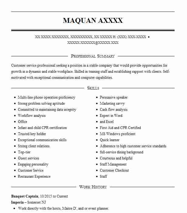 Banquet Captain Resume Example Imperia Maplewood New Jersey