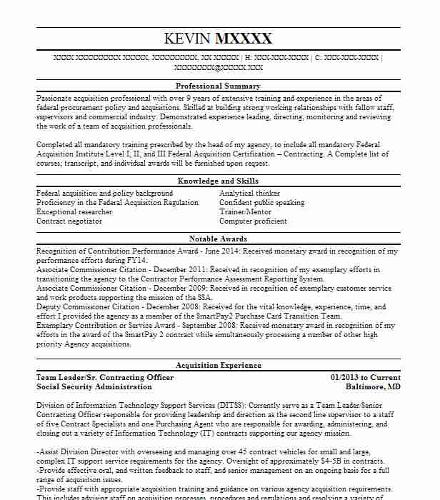 contracting officer  team lead gs 1102 13 resume example