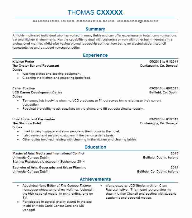 kitchen porter resume sample