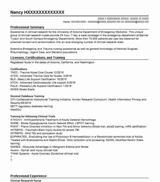 Clinical Research Nurse Resume Example Nursing Resumes Livecareer