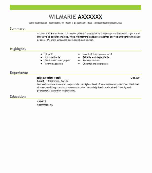 sample resume for retail associate