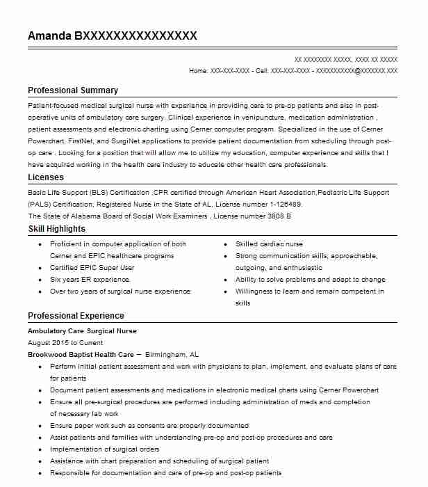 Medical Surgical Nurse Resume Sample: Find Resume Examples In Dora, AL