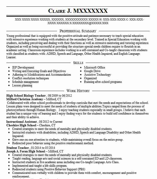 high school biology teacher resume sample