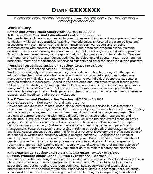 before and after school care assistant resume example