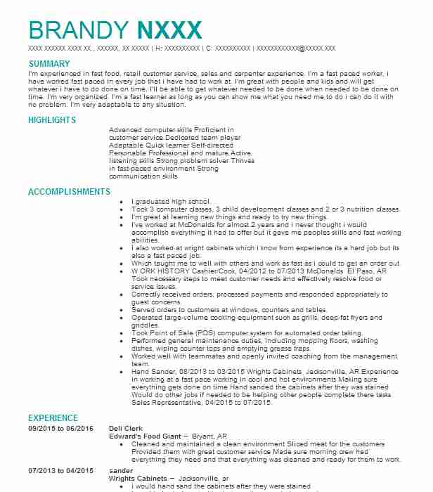 Deli Clerk Resume Sample Clerk Resumes Livecareer